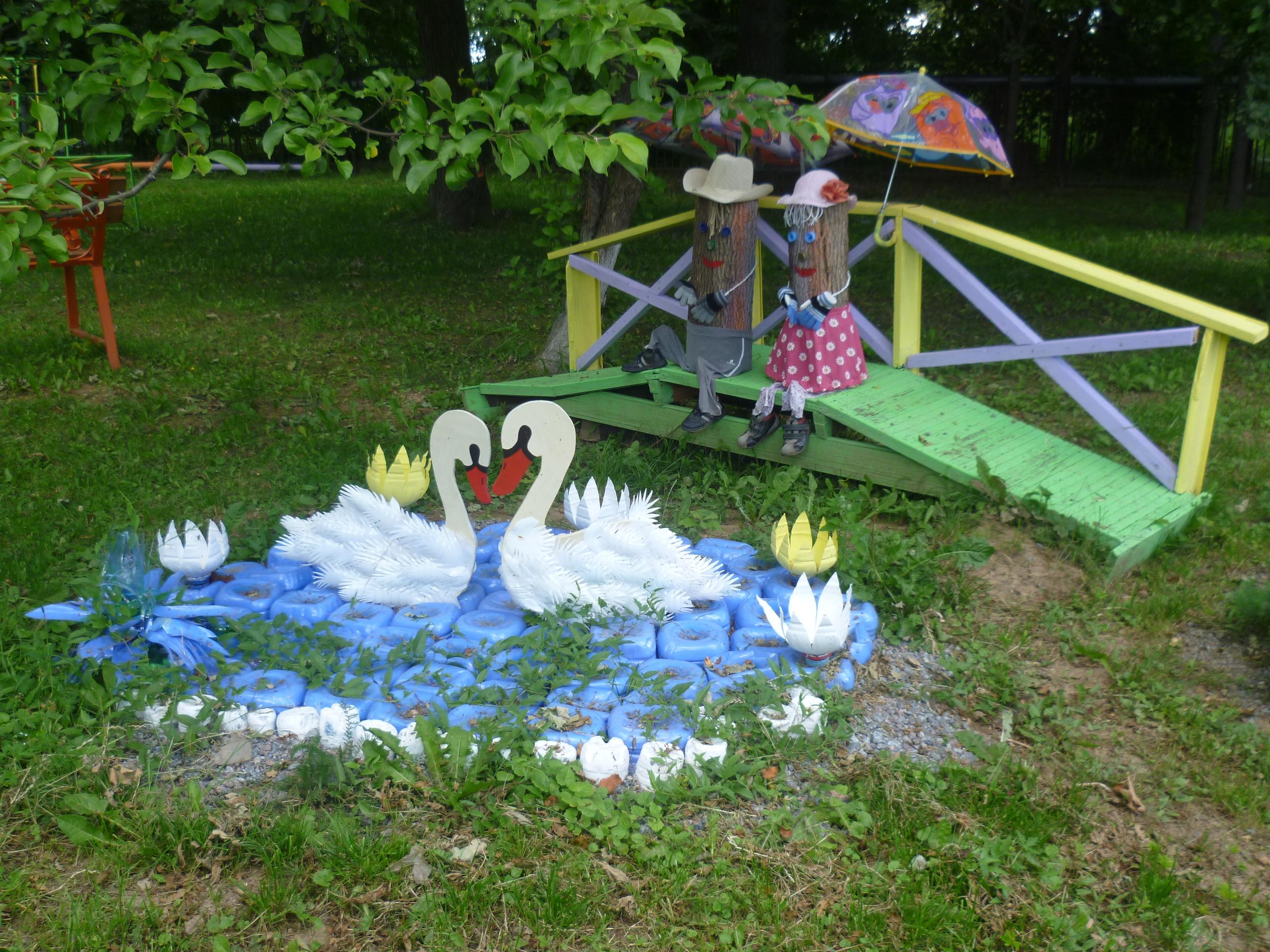 Лебедь из пластиковых бутылок своими руками для сада фото