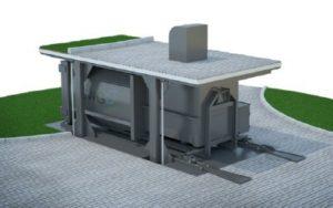 Поздемный компактор для уличного мусора с вертикальным подъемом