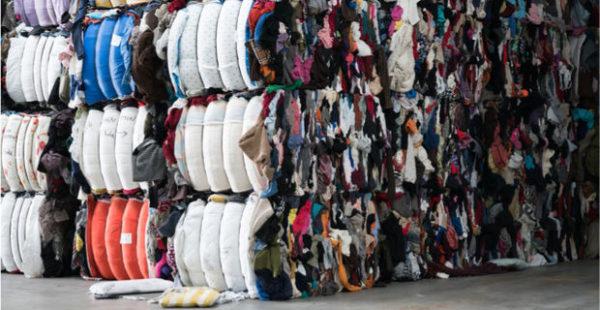 Склад тюков текстильных отходов