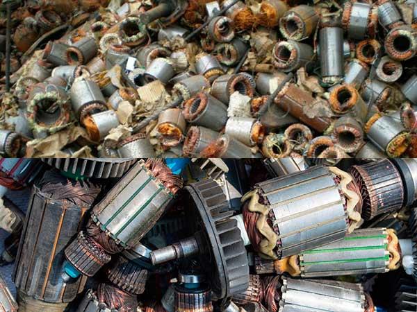 Роторы и статоры разобранных электродвигателей