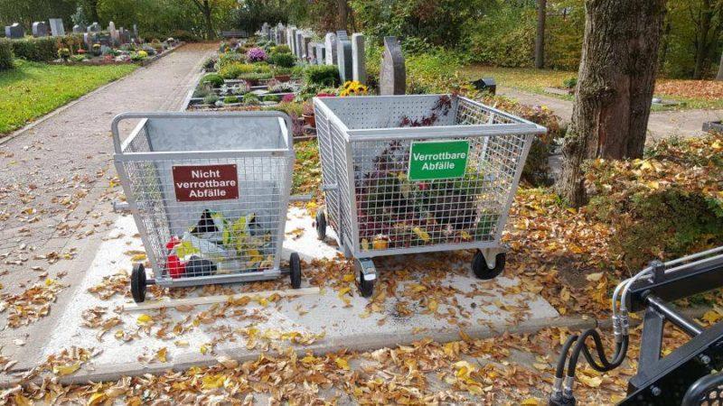 Сетчатый контейнер для сбора растительных остатков на кладбище
